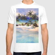 Wonderful view over the island MEDIUM Mens Fitted Tee White