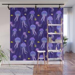 Sea jellyfish on dark purple background. Wall Mural