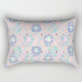 Lotus flower - powder pink woodblock print style pattern Rectangular Pillow