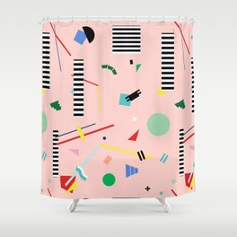 Memphis Geometry Lesson Shower Curtain