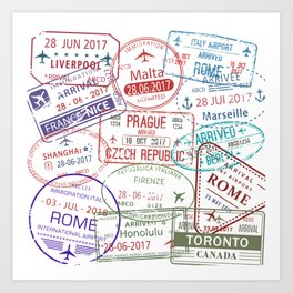 Immigration stamps Art Print