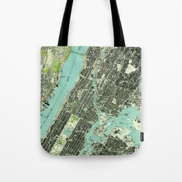Vintage Central Park & Bronx NY Map (1947) Tote Bag