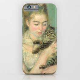 Woman with a Cat Oil Painting by Auguste Renoir iPhone Case