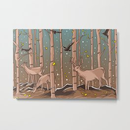 Birch Trees with Birds And Deer Metal Print