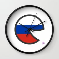 russia Wall Clocks featuring Russia Smile by onejyoo
