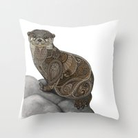 otter Throw Pillows featuring Otter by ZHField
