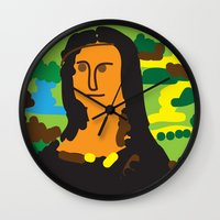 mona lisa Wall Clocks featuring Mona Lisa by John Sailor