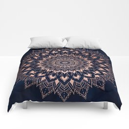 Boho rose gold floral mandala on navy blue watercolor Comforters