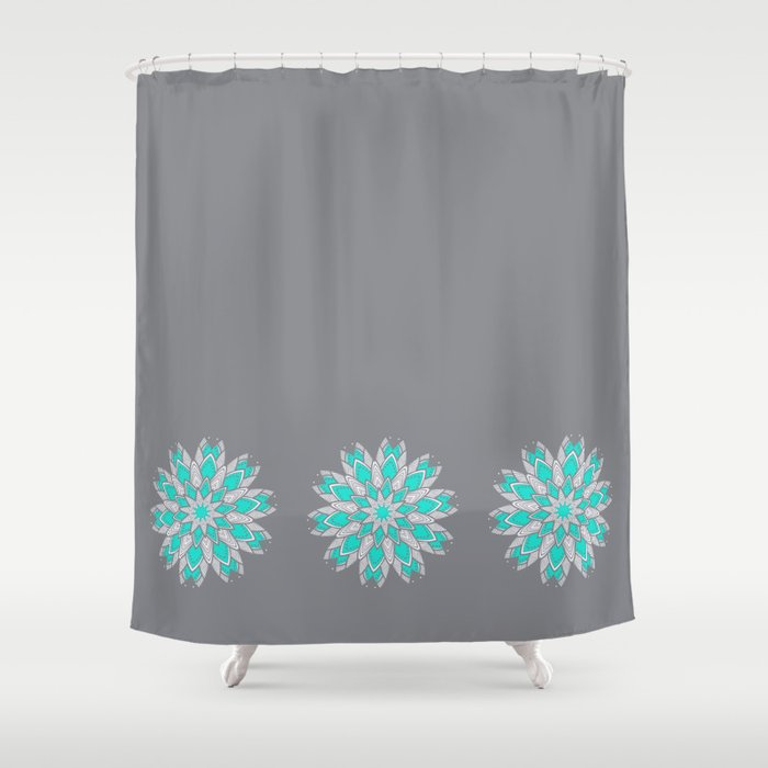 Grey Teal Medallion Shower Curtain