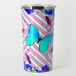 PINK Blue Morning Glory Abstract Butterflies Pattern Garden Travel Mug