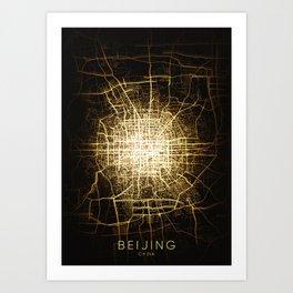 beijing china city night light map Art Print