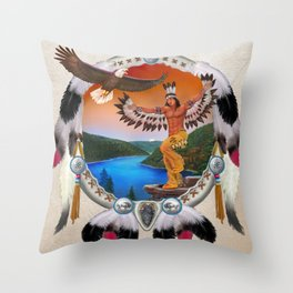 Indian Eagle Dancer Throw Pillow