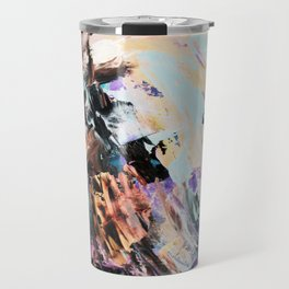 Bright multi-colored painting, contemporary art.  acrylic paint, abstract texture hand drawn gradien Travel Mug