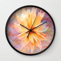 matty healy Wall Clocks featuring Dahila Delight  by Judy Palkimas