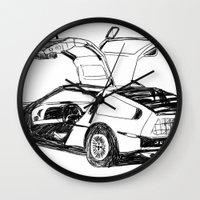 delorean Wall Clocks featuring DELOREAN by carolin walch