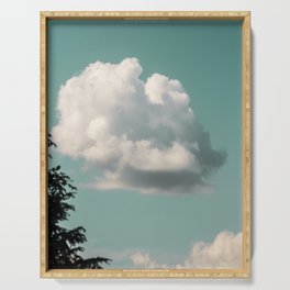 Mint Skies and White Fluffy Clouds #2 Serving Tray