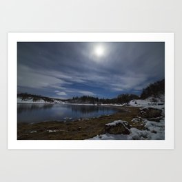 Moonlit Loch Art Print