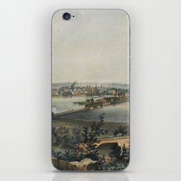 Vintage Pictorial Map of New Haven CT (1849) iPhone Skin