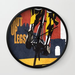 Retro Tour de France Cycling Illustration Poster: Shut Up Legs Wall Clock