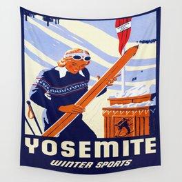Yosemite Winter Sports Travel Wall Tapestry