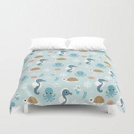 Under the sea Seahorse Squid Turlte print design patern Duvet Cover