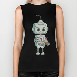 The feeling when your cute little robot brings you a cupcake in the morning :) Biker Tank