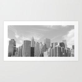 New York City skyline from Brooklyn Bridge  Art Print