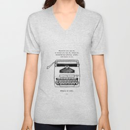 Begin It Now: Retro Typewriter Artwork Unisex V-Neck