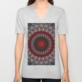 Ornamented mandala in red and gray tones Unisex V-Neck