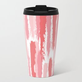Brushstrokes Stripes Pattern - Pink, Rose, Coral, Peach Travel Mug