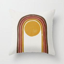 Abstract rainbow Mid Century Modern Throw Pillow