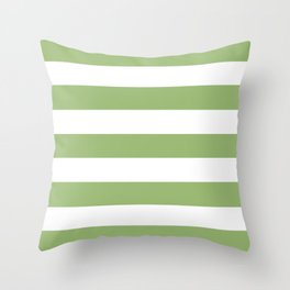 Olivine -  solid color - white stripes pattern Throw Pillow