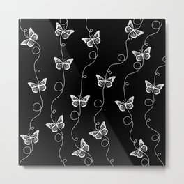 Black and White Butterfly Pattern Metal Print