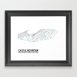 Castle Mountain, Alberta, Canada - Minimalist Trail Maps Framed Art Print