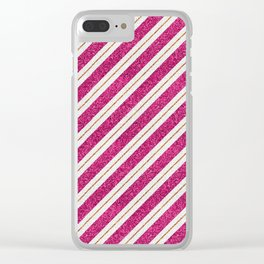 Neon pink faux gold glitter modern stripes pattern Clear iPhone Case