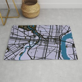 Philadelphia Street Map // Blue Theme Rug