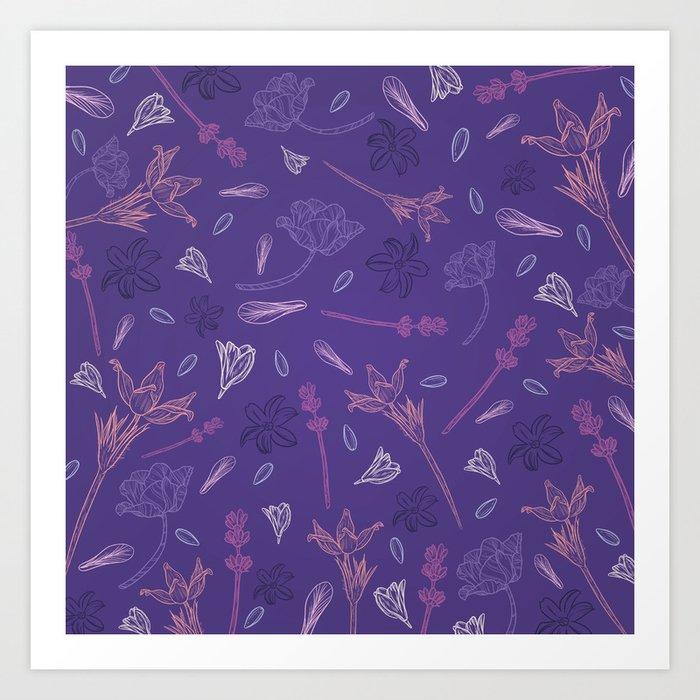 Ultraviolet Flowers Art Print