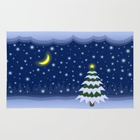 fairytale Area & Throw Rugs featuring Christmas fairytale by Natalia Bykova