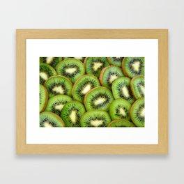 Kiwi green fruit pattern Framed Art Print