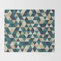 Foggy Petrol and Blue - Hipster Geometric Triangle Pattern by pelaxy