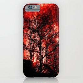 black trees red space iPhone Case