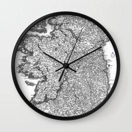 Vintage Map of Ireland (1716) BW Wall Clock