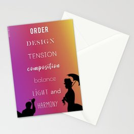 Order. Design. Tension. Composition. Balance. Light. Harmony. Stationery Cards
