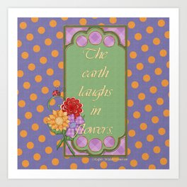 Country Nouveau Polka Dots & Flowers Art Print