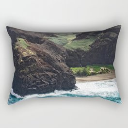 Dramatic Tropical Beach Surf Surrounded by Rugged Cliffs Rectangular Pillow