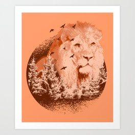 Orange Lion With Trees Forest & Flying Birds Beautiful Animal Design Art Print