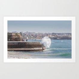 Waves crashing on the Promenade in Cascais Art Print