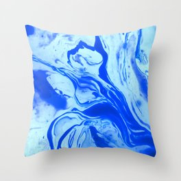 Teal watercolor marble Throw Pillow