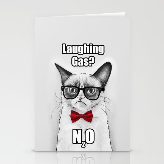 Grumpy Chemistry Cat Geek Science Meme Whimsical Animals in Glasses Stationery Cards
