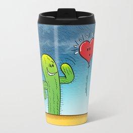 Spiky Cactus Flirting with a Heart Balloon Travel Mug